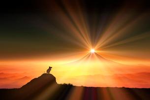 富士山の日の出とネズミのシルエットのイラスト素材 [FYI03160389]