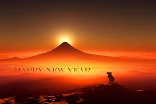 富士山の日の出とネズミのシルエットのイラスト素材 [FYI03160461]