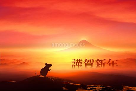 富士山の日の出とネズミのシルエットのイラスト素材 [FYI03160466]