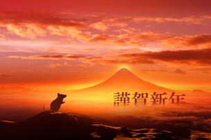 富士山の日の出とネズミのシルエットのイラスト素材 [FYI03160470]