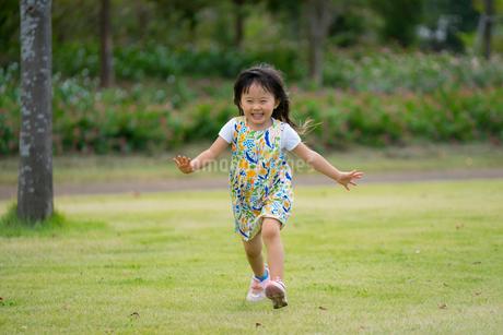 笑いながら走ってくる3歳の女の子1の写真素材 [FYI03160483]
