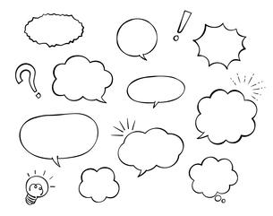 手描き吹き出しのセット(モノクロ)のイラスト素材 [FYI03160554]