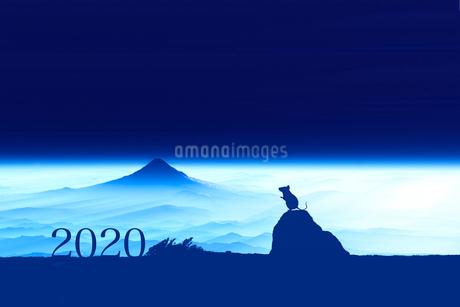 富士山の夜明けとネズミのシルエットのイラスト素材 [FYI03161363]