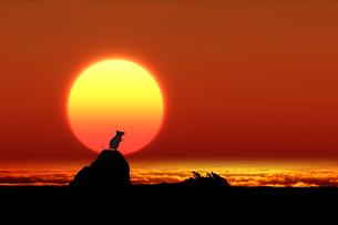 日の出とネズミのシルエットのイラスト素材 [FYI03161364]