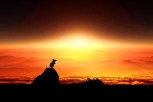 日の出とネズミのシルエットのイラスト素材 [FYI03161365]