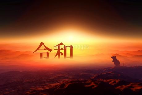日の出とネズミのシルエットの写真素材 [FYI03161410]
