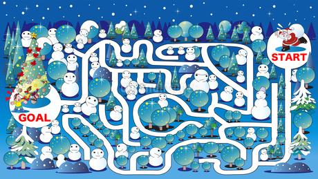 迷路、クリスマスツリーとイルミネーションのイラスト素材 [FYI03161705]