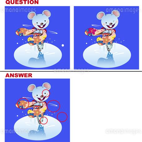 間違い探しクイズ_ネズミのフィギュアスケートのイラスト素材 [FYI03161710]