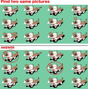 同じもの探しクイズ、可愛いミニチュアダックスのイラスト素材 [FYI03161715]