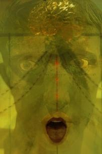 目を見開く人物の顔と脳の写真素材 [FYI03162162]