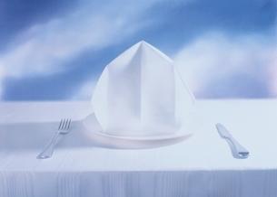 ナプキンの飾られたテーブルセッティングの写真素材 [FYI03162441]
