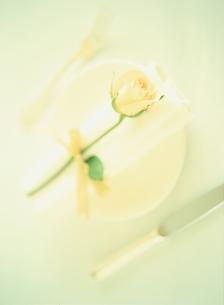 結婚式のテーブルセッティングとバラ(白)の写真素材 [FYI03162582]