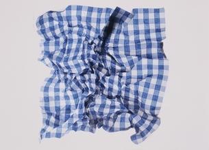 青と白のチェックのナプキンの写真素材 [FYI03162907]