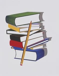 重ねた本と鉛筆のイラスト素材 [FYI03163045]