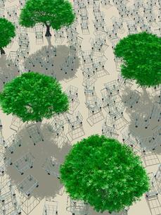 樹木の周りに置かれた無数のショッピングカートのイラスト素材 [FYI03165537]