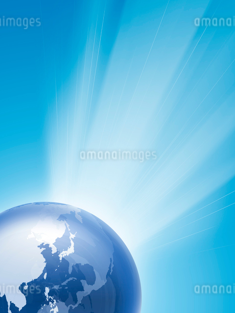 地球と放射光のイラスト素材 [FYI03165821]