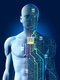 透けて見える人型ロボットの制御システムのイラスト素材 [FYI03165877]