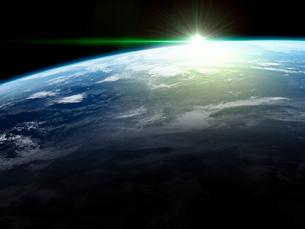 衛星軌道から眺める日の出に浮かび上がる広大な大気層と雲海のイラスト素材 [FYI03165895]