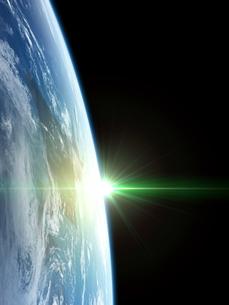 衛星軌道から眺める日の出に浮かび上がる北海道地域のイラスト素材 [FYI03165896]