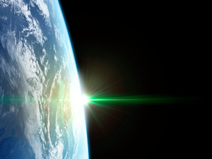 衛星軌道から眺める日の出に浮かび上がる関東広域のイラスト素材 [FYI03165934]
