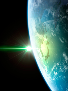 衛星軌道から眺める日の出に浮かび上がる日本と北東アジア圏のイラスト素材 [FYI03165938]