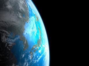 衛星軌道から眺める日本と北東アジア圏のイラスト素材 [FYI03165939]