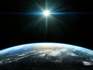 衛星軌道から眺める太陽の光射すカナダ北極圏広域のイラスト素材 [FYI03165941]