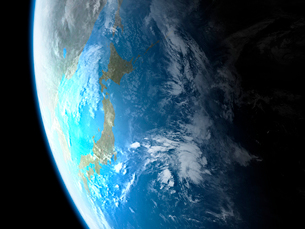 衛星軌道から眺める日本と北東アジア圏のイラスト素材 [FYI03165948]