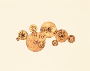 大小のゴールドの歯車群の写真素材 [FYI03167137]