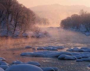 雪と森林と石狩川 旭川 北海道の写真素材 [FYI03168629]