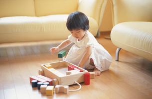 積み木を片付ける女の子の写真素材 [FYI03170355]