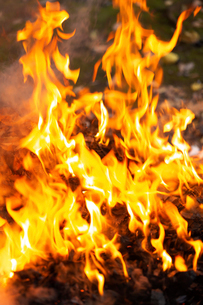 燃え上がる焚き火の炎の写真素材 [FYI03171047]
