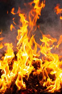 燃え上がる焚き火の炎の写真素材 [FYI03171058]