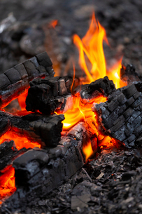 燃え上がる炭と炎の写真素材 [FYI03171073]
