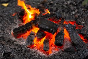 燃え上がる炭と炎の写真素材 [FYI03171080]