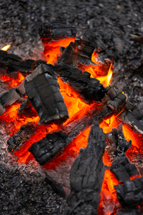 燃え上がる炭と炎の写真素材 [FYI03171085]