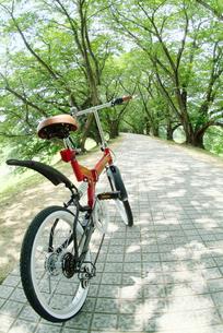 道に止まる自転車の写真素材 [FYI03171294]