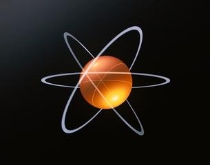 オレンジ色の球体と3個の輪 CG 天体イメージの写真素材 [FYI03171357]