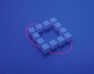 四角に並べられた立方体と光の輪(青)の写真素材 [FYI03172235]