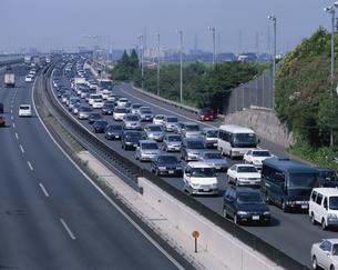 渋滞する常磐自動車道  流山市 千葉県の写真素材 [FYI03172968]
