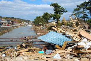 津波でなぎ倒された松並木と流されてきた瓦礫の写真素材 [FYI03173306]