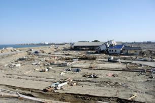 津波被害で家屋のほとんどが倒壊・流出したエリアの写真素材 [FYI03173317]