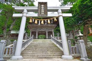 金華山黄金山神社の鳥居と随神門の写真素材 [FYI03174649]