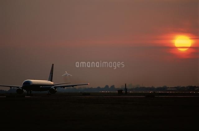 ヒースロー空港と夕日と旅客機 イギリスの写真素材 [FYI03175166]