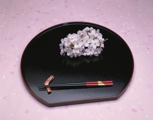 盆の上の箸と桜の花の写真素材 [FYI03175360]