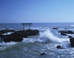 鳥居と海  大洗町 茨城県の写真素材 [FYI03175366]