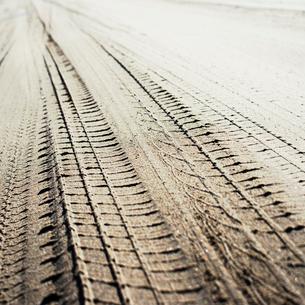 砂浜に刻まれた車の轍の写真素材 [FYI03176185]