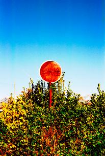農道脇の古い消火栓標識の写真素材 [FYI03176336]