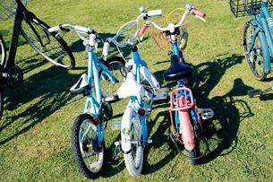 公園の芝地に大人自転車にはさまれて置かれた三台の子供自転車の写真素材 [FYI03176560]