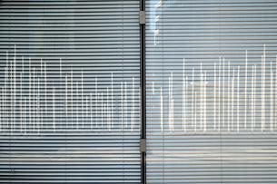 ビルのガラス窓に映る沢山のポールの写真素材 [FYI03176603]